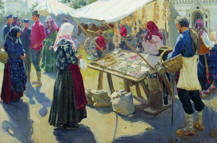 Базар с баранками. 1910, Куликов Иван Семенович.