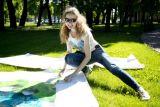 Процесс монтажа в Михайловском саду