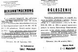 Распоряжение о том, что за помощь евреям устанавливается смертная казнь. На немецком и польском языке